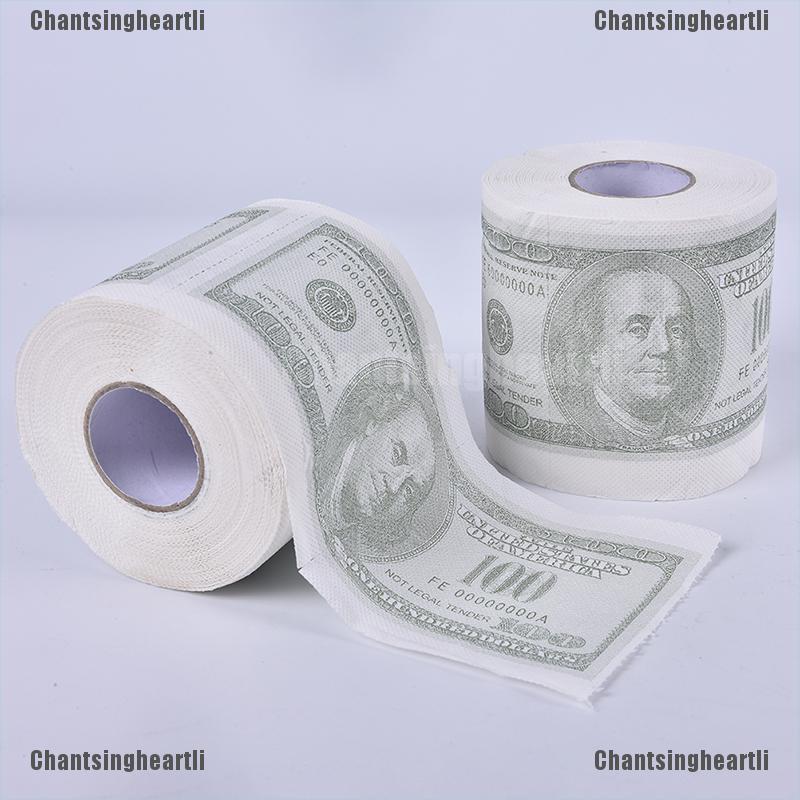 Gift Joke Gag WC Soft Tissue Roll 100 Dollar Funny Toilet Paper Money Printed