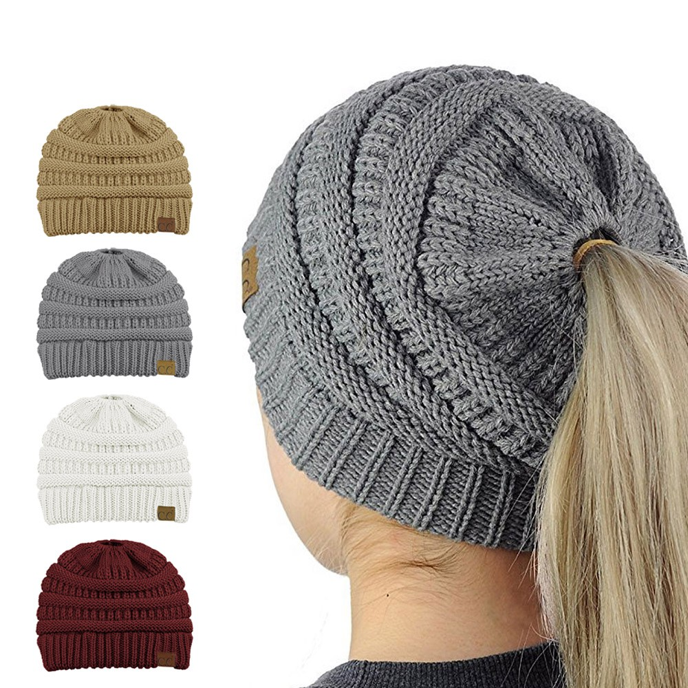 502322cd ProductImage. ProductImage. Winter Warm Knit Hat Ponytail Messy High Bun ...