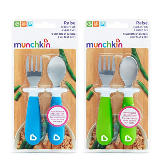 12+ 6 Pack Munchkin Raise Toddler Forks and Spoons Purple