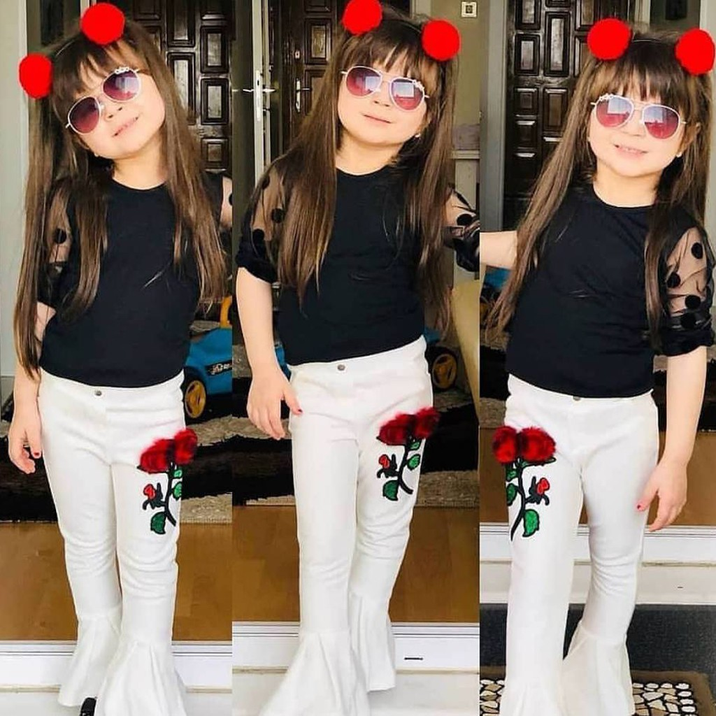 chinatera Little Girl Clothes Set Off Shoulder Flare Sleeve Tops Plaid Pants Kids Outfits