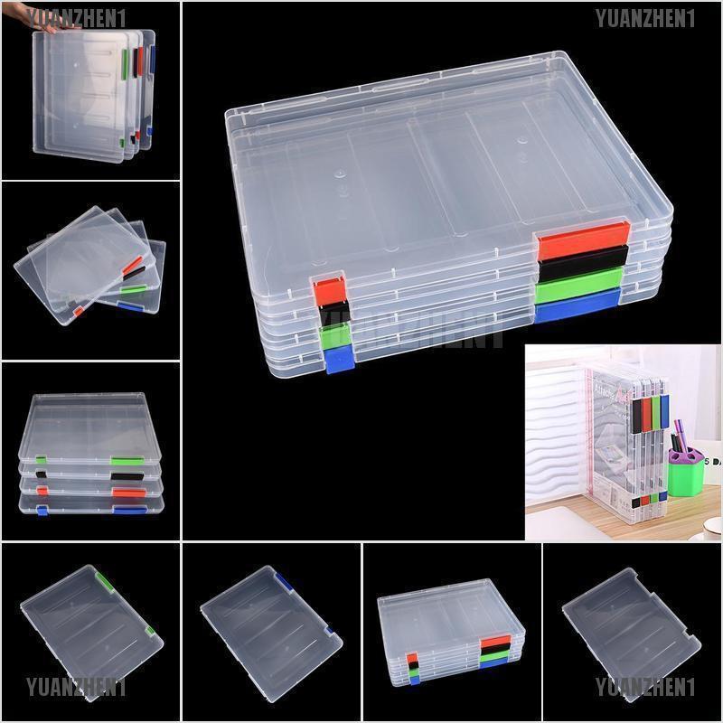 【YUANZHEN1】A4 Transparent Storage Box Clear Plastic Document Paper Filling  Cas