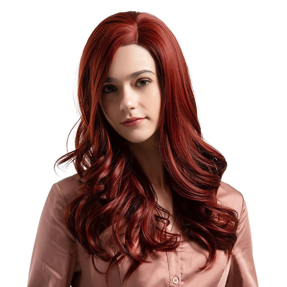 80cm Women Long Curly Wave Hair Extensions Wig Cosplay Wigs Wig Wine Red | Shopee Philippines