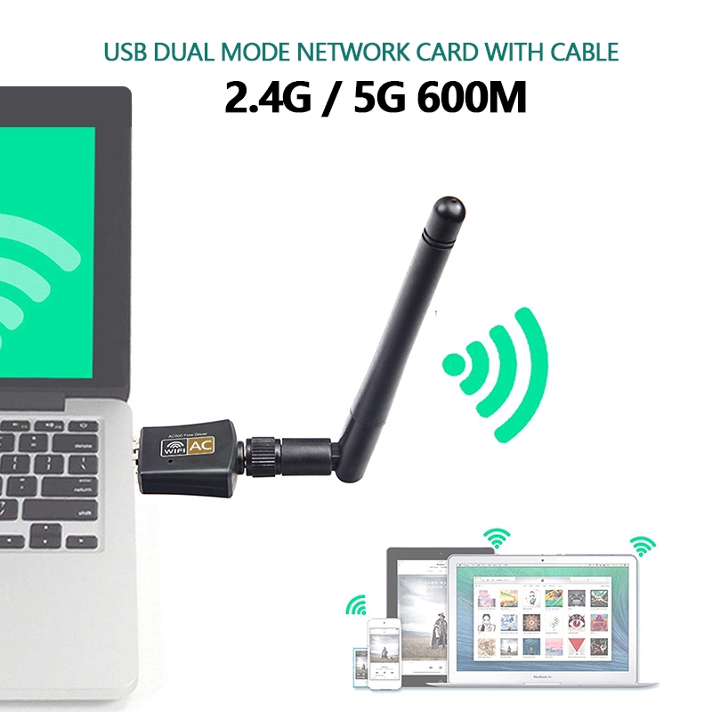NewPinky WiFi Adapter 600Mbps 2.4GHz 5GHz Dual Frequency Wireless Network Connector for Desktop Laptop Computer