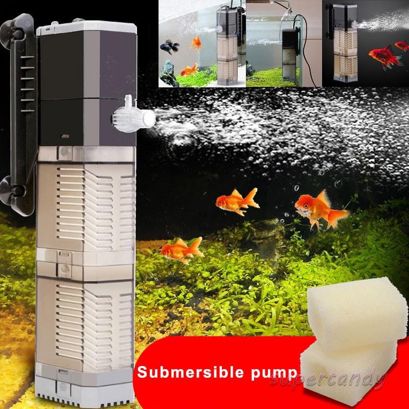 3 in 1 Internal Filter Pump Submersible Fish Tank Aquarium Oxygen Pump AC 220V