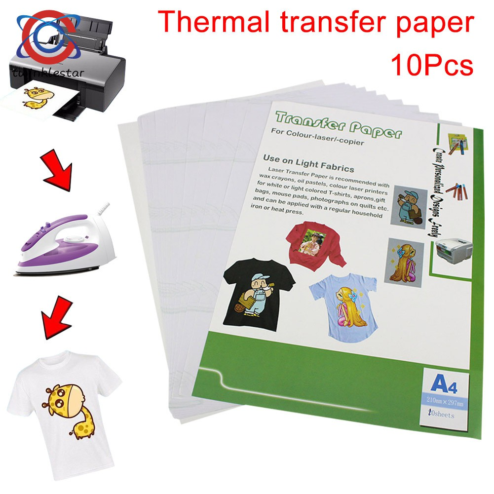 picture about Printable Iron on Paper called 10personal computers Warm Print Go Paper Printing Inkjet A4 210mm X 297mm For Gentle Shade Cloth