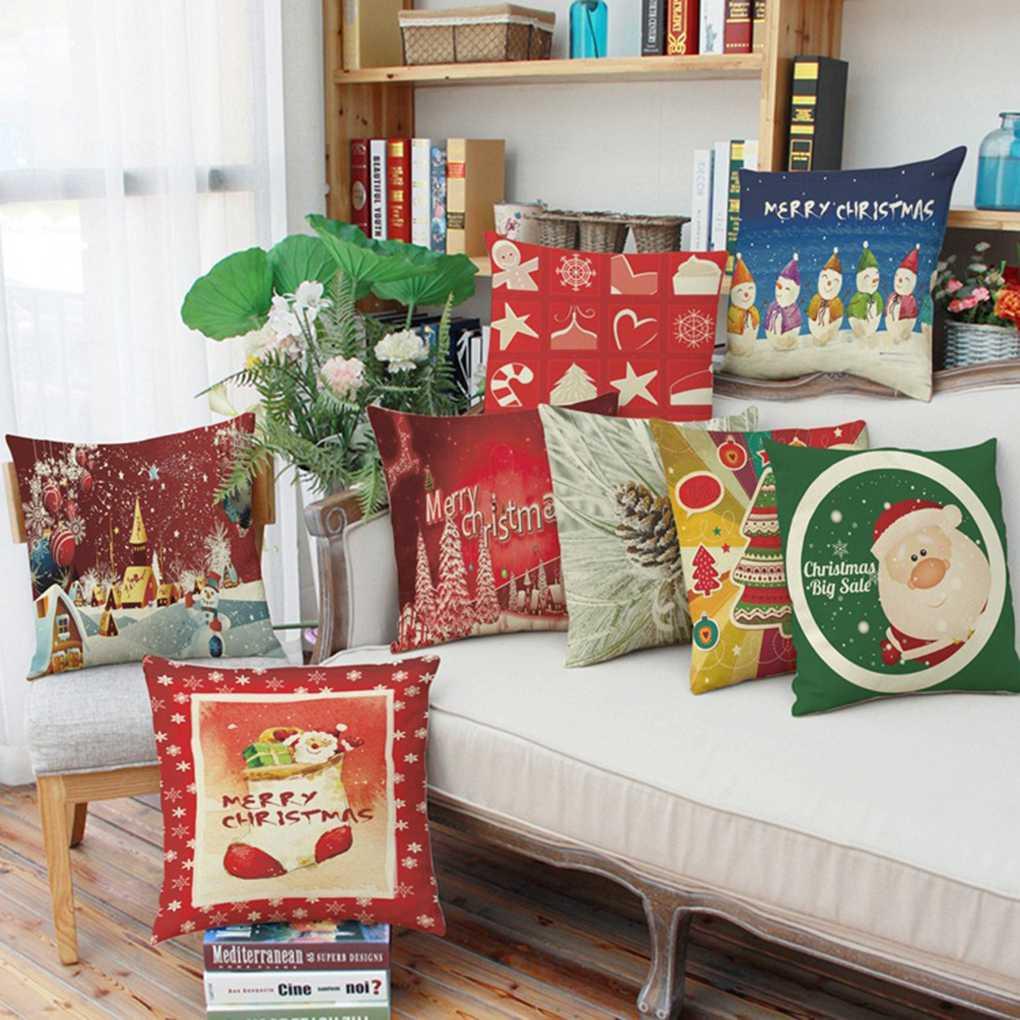 45x45cm Christmas Throw Pillow Covers Santa Printing Pillow Case Cushion  Cover Pillowcase Sofa Decor