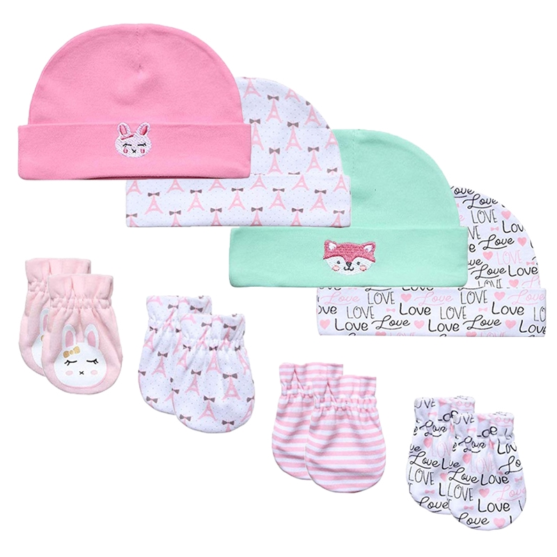 Baby Mittens and Caps Set Infant gloves and no scratch mittens Newborn Gift 7 Piece Set For Baby Boys /& Girls 0-6 Months
