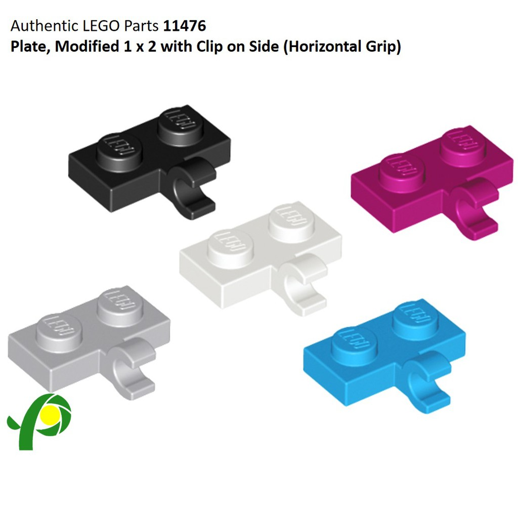 4 Plate 11476 LEGO Parts~ Modified 1 x 2 w Clip Horizontal on Side BLACK