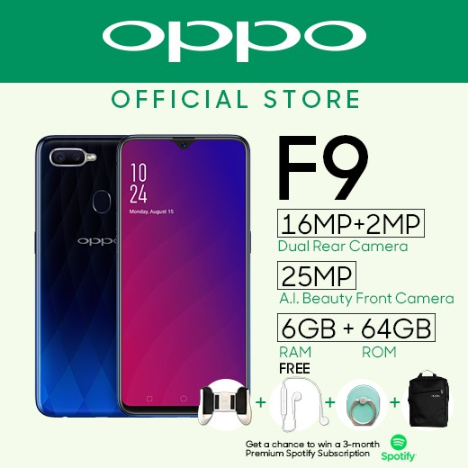 OPPO F9 with BAG and GIFT BOX