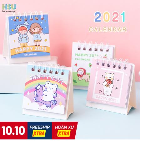 HSU】Mini Desk Calendar 2021 Calendar Cute Monthly Calendar