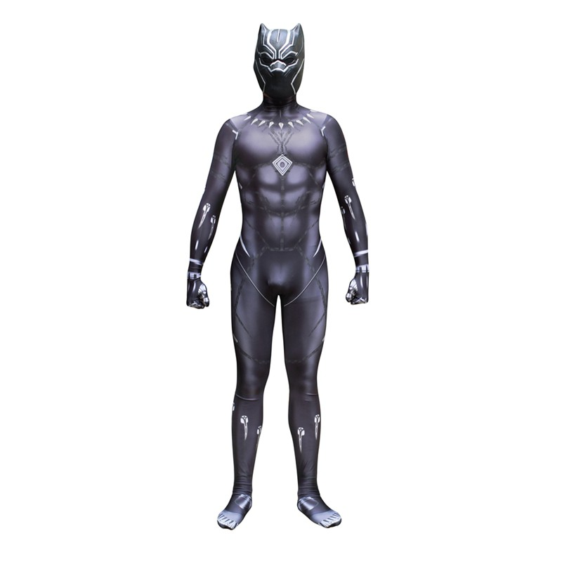 For Superhero Black Panther Cosplay Costume T/'Challa Jumpsuits Bodysuit Zentai