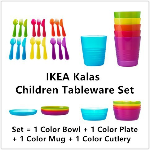 Strict Kalas Children Kids Plastic Plate Mug Cups Bowls And Cutlery Set Multicolour Feeding Sets
