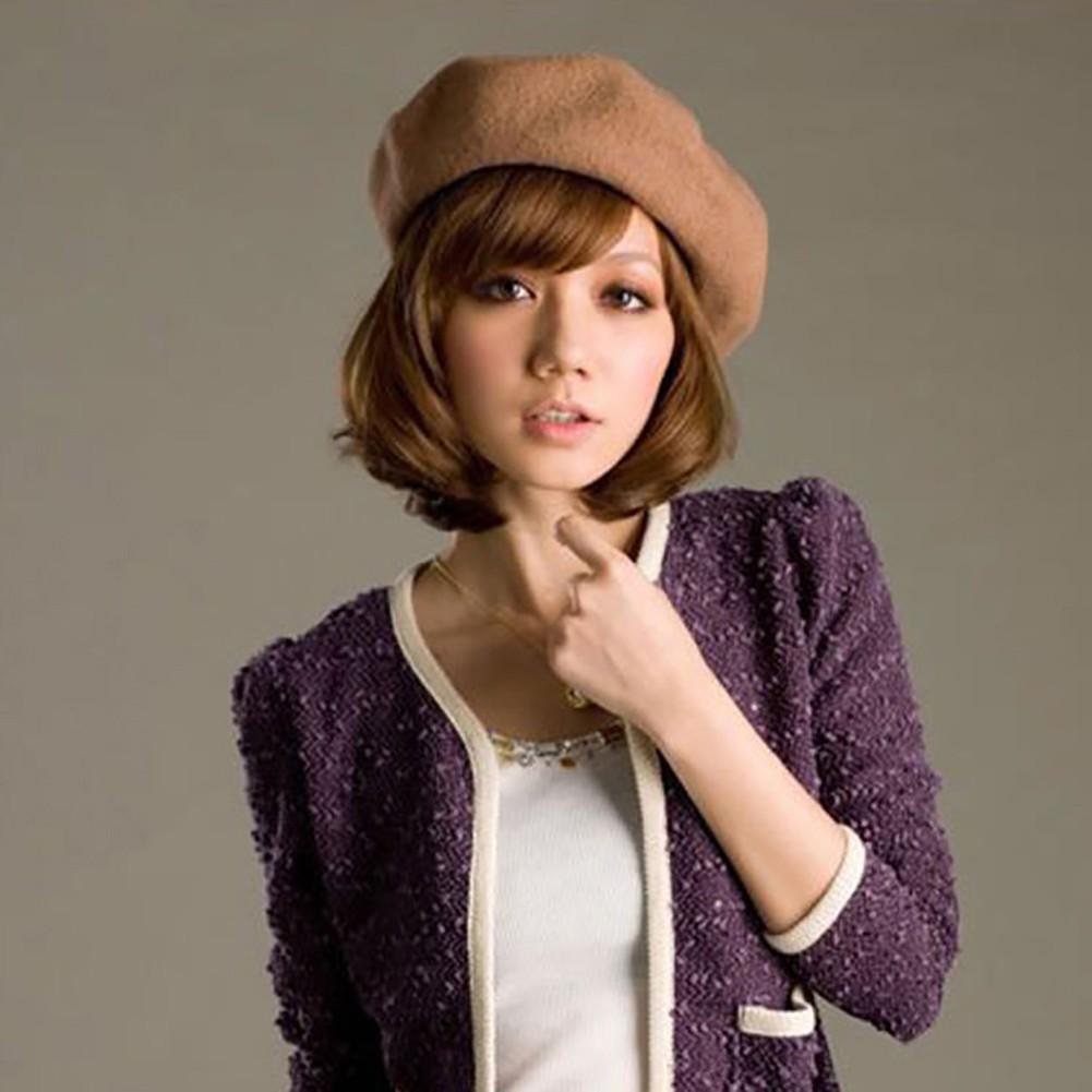 3480a815129 Women Girls Fashion Plain Beret Hat Wool French Beret Winter ...