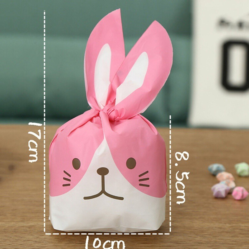 50x Easter Bunny Rabbit Ear Cookies Bag Party Favour Kids Gift Sweet Candy Bags