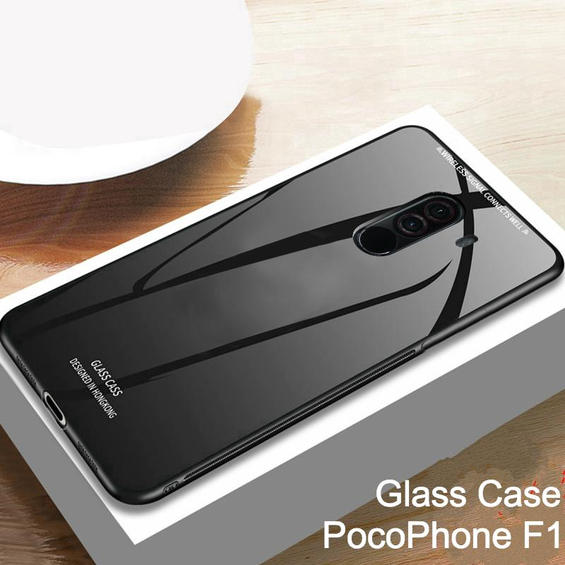 sale retailer 53add e88b3 PocoPhone F1 Tempered Glass Case cover Soft Frame protection