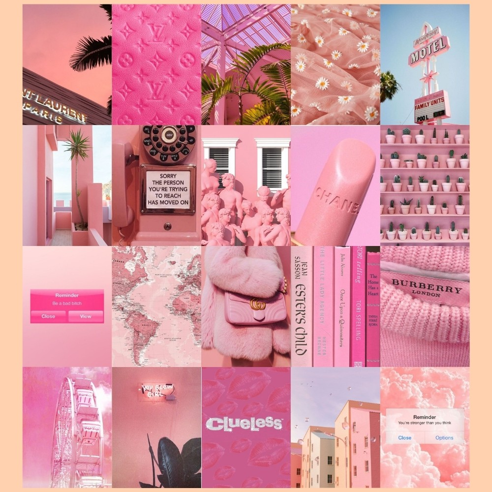 Pink Aesthetic Wall Collage Set Shopee Philippines