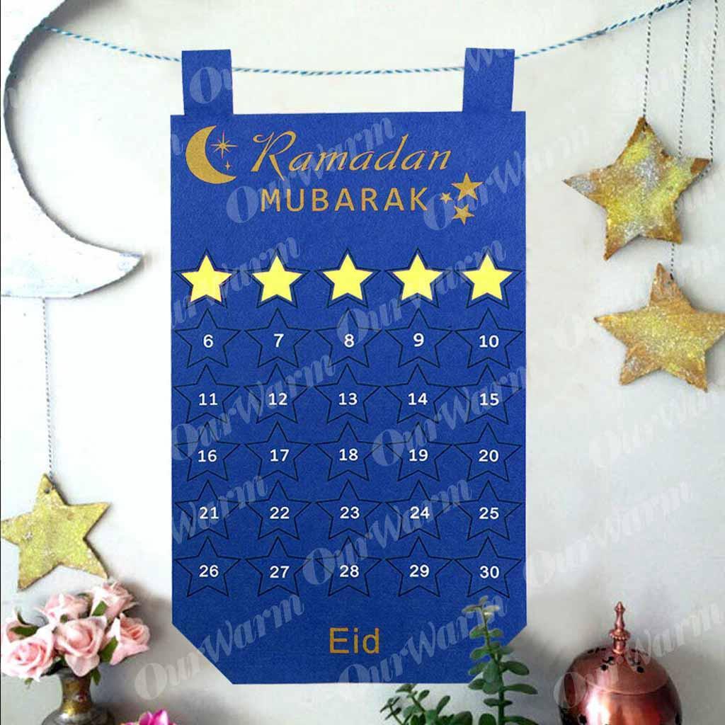 Felt Ramadan Eid Mubarak Kids Mosque Children/'s Hanging Countdown Calendar