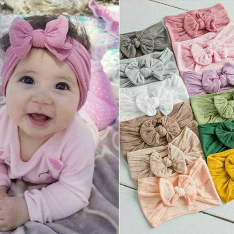 3Pcs Baby Girls Photography Rabbit Bow Ear Headband Sets Newborn Baby Printed Turban Knot Head Wraps Hairband Kit