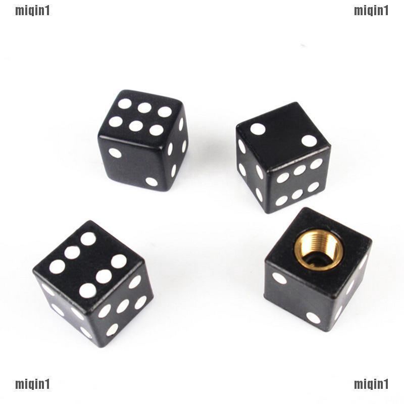 Black Dice Valve Caps Set of 4 Dust Caps Universal Fit