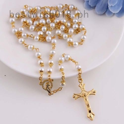 White Black Glass Pearl Beads Catholic Rosary Italy Cross Crucifix Necklace  Gift