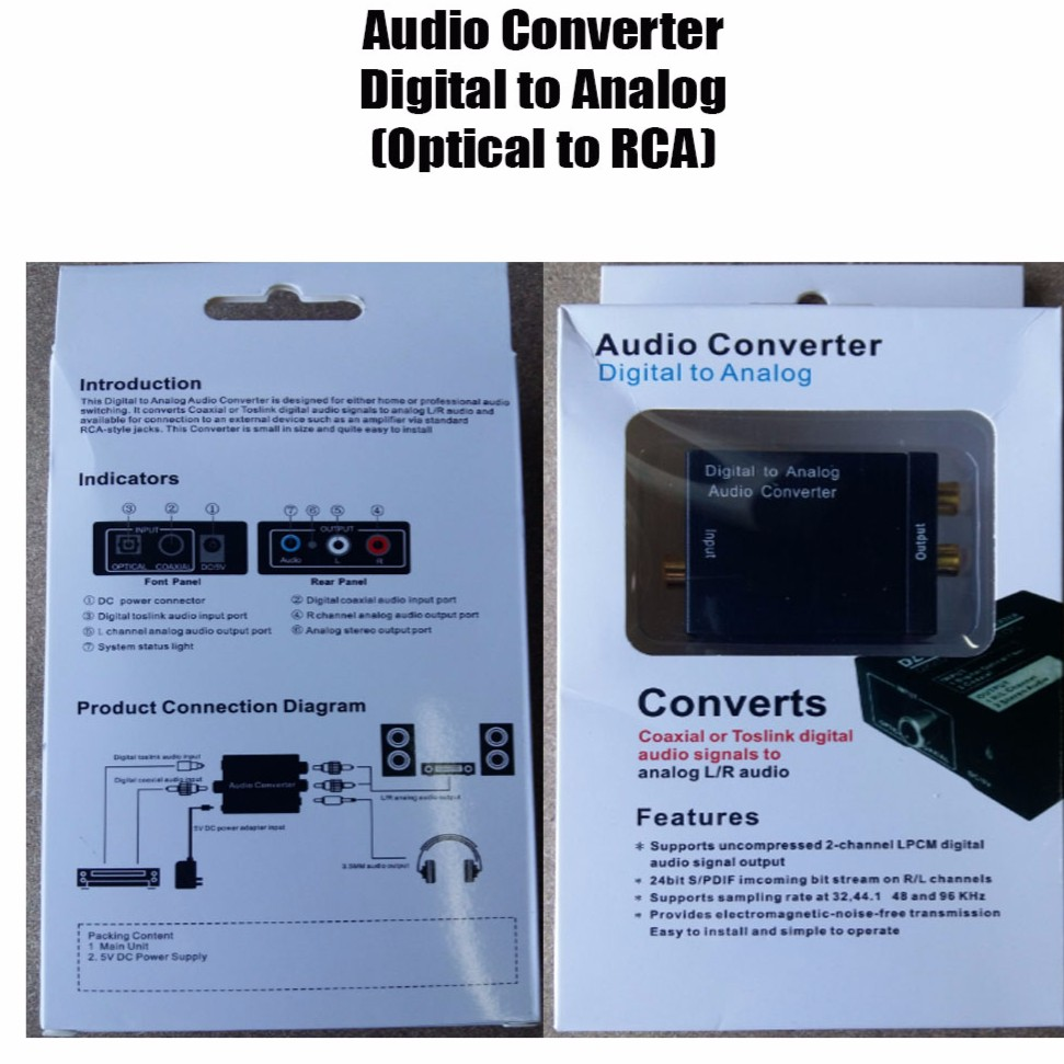 Audio Converter - Optical to RCA (Digital to Analog)