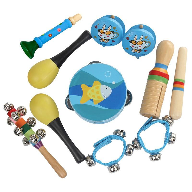 Dynamic 3pcs World Wooden Educational Teaching Materials Percussion Drums Bell Musical Instrument Set Kids Intelligent Development Toy High Quality And Inexpensive Toy Musical Instrument Toys & Hobbies