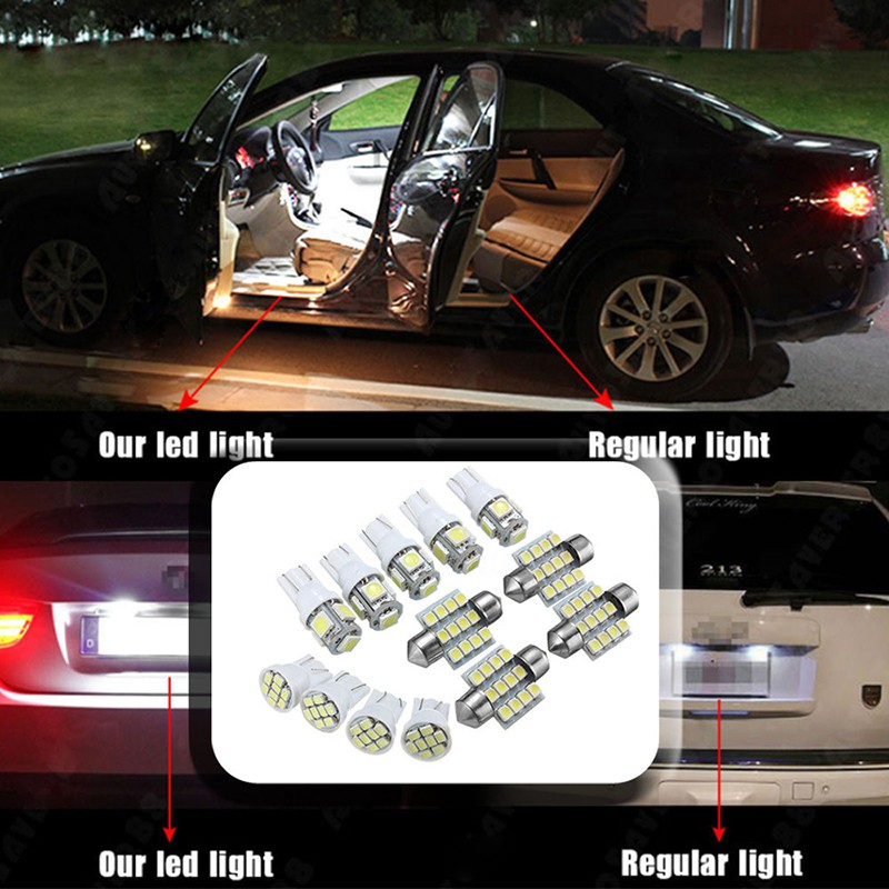 White LED Interior Package T10/&31mm Festoon Map Dome License Plate Light Bulbs