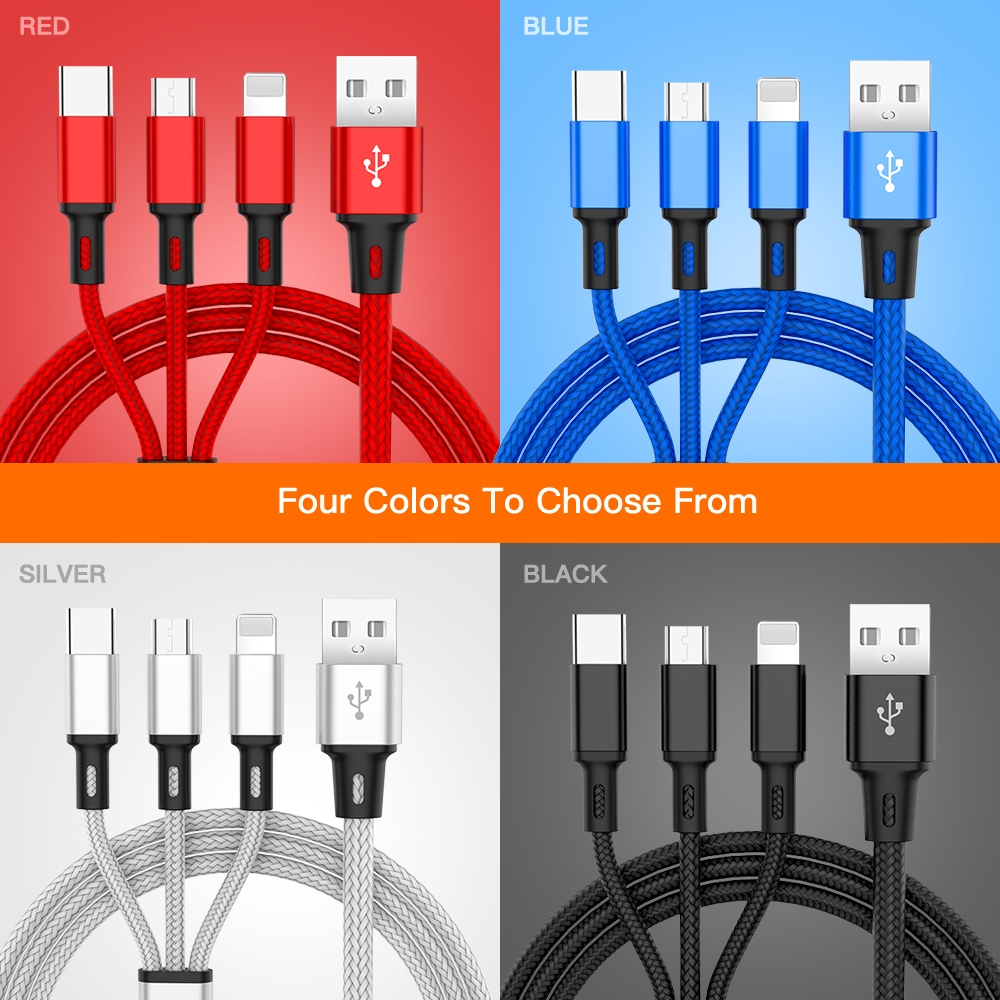 Multi-Function Mobile Phone USB One for Three Data Charging Line Ultra-Fast Charging 3A Three-in-One Charging Line 1.2M Sophia Three-in-One Data Cable