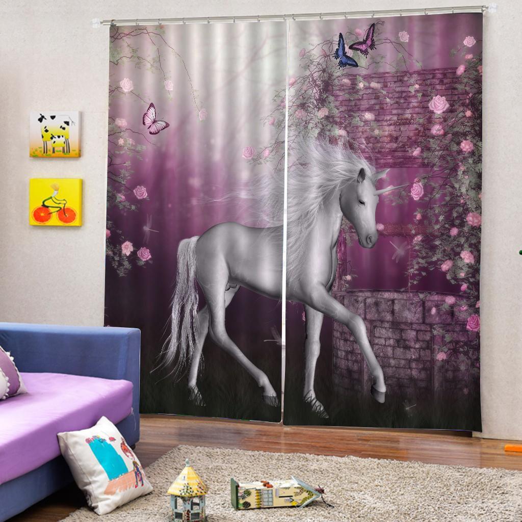 1.5x1.8m Set Unicorn Bathroom Shower Curtain with Hook /& Waterproof Non Slip Mat