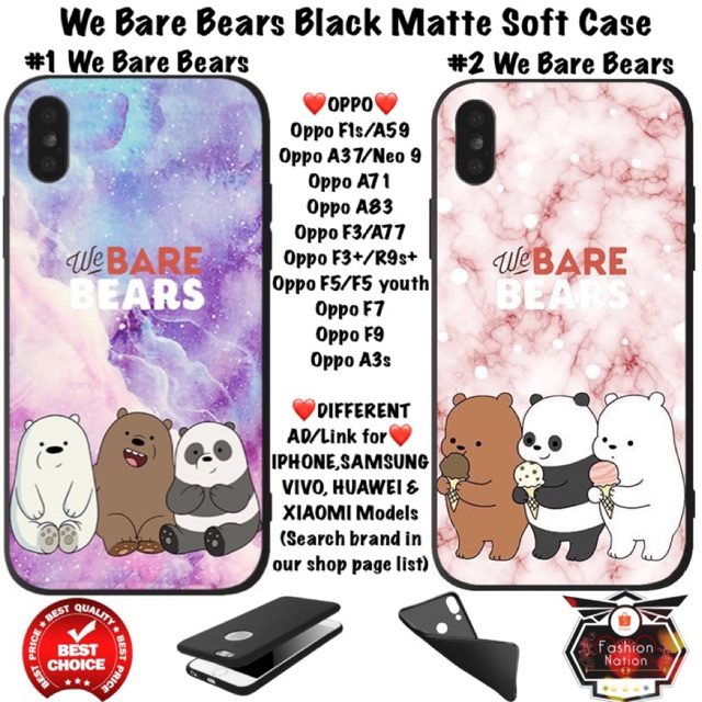 We Bare Bears OPPO Case F1s A3s A37 A71 A83 F3 Plus F5 F7 F9 youth iphone 5  5c 5s 6 6s Plus