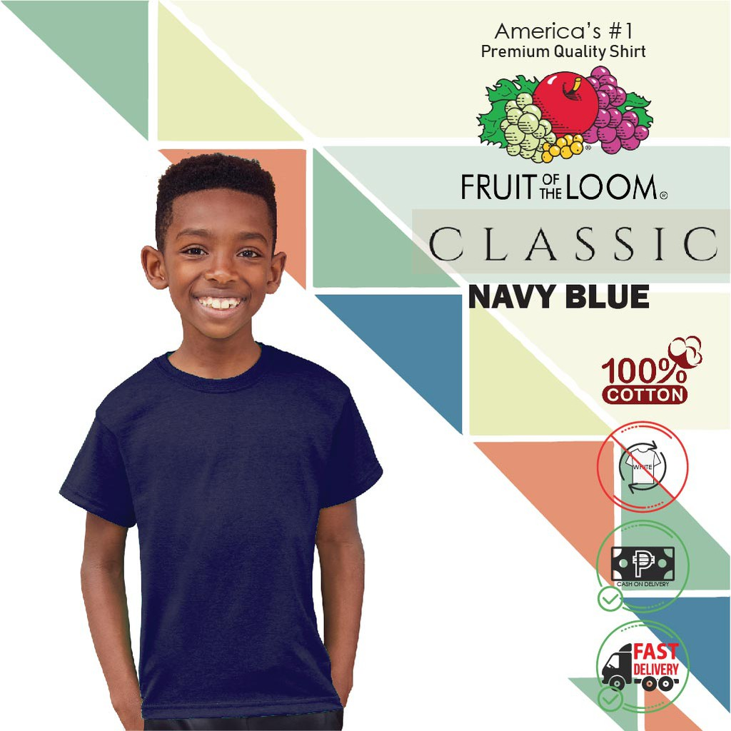 100/% Soft Cotton Fruit Of The Loom Boys Girls Kids T-Shirts Short OR Long Sleeve