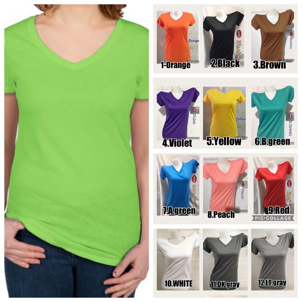 Cottony Small Size Plain V Neck Tshirt Many Pastel Colors Plain Blouse Plain Tshirt Unisex Wear Shopee Philippines