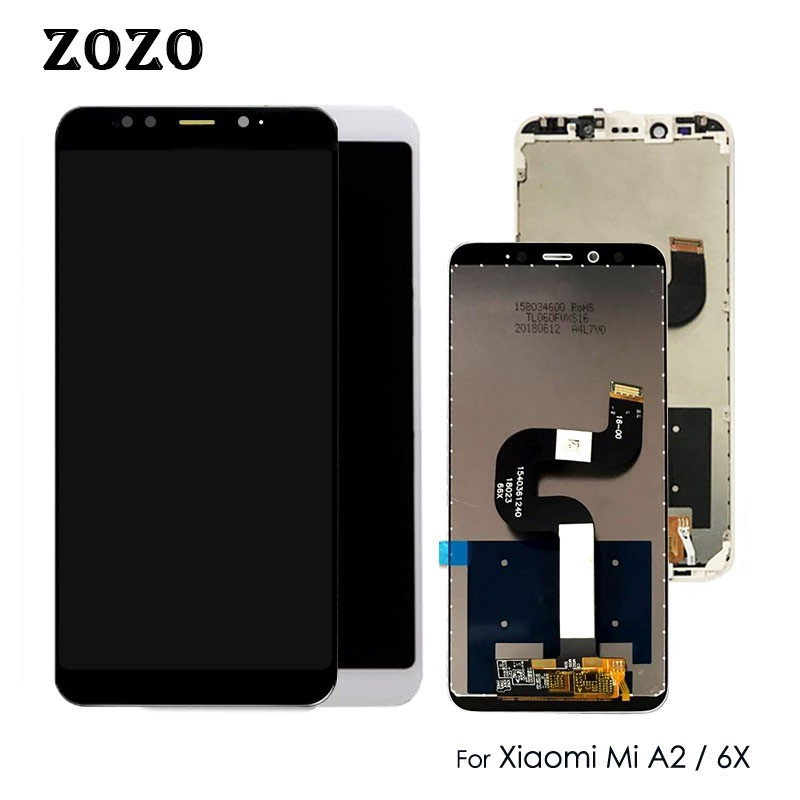 Color : Black Black Mobile Phone LCD Screen Replacement LCD Screen and Digitizer Full Assembly for Xiaomi Mi 6X A2