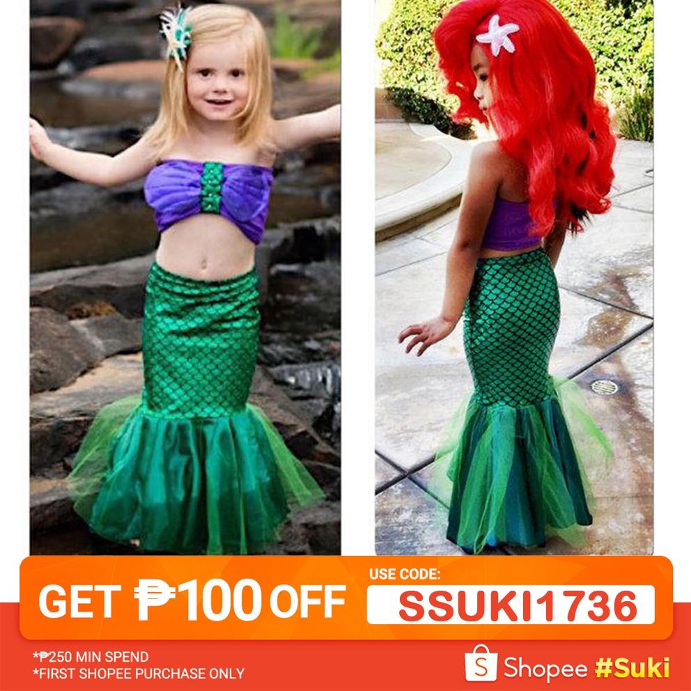 💋XZQ-Baby Girls Little Mermaid Set Costume Bikini Swimwear