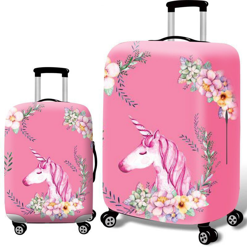 Pink Marble Print Travel Suitcase Protector Zipper Suitcase Cover Elastic
