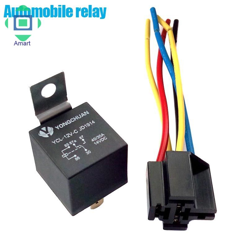 5Pack DC 12V Car SPST Automotive Relay 4 Pin 4 Wires w//Harness Socket 30//40 Amp