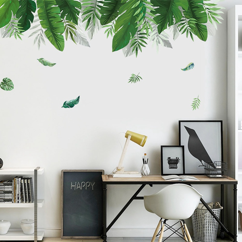 Nordic Green Leaf Wall Sticker Tv Living Room Background Mural Art Shopee Philippines