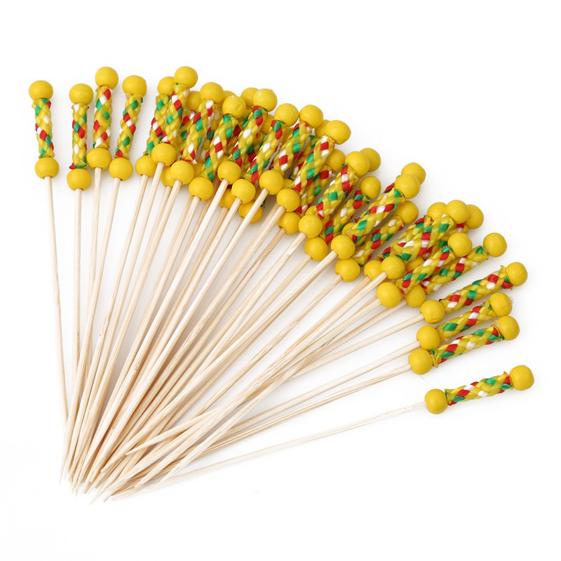 100Pcs Disposable Bamboo Tie Skewers Cocktail Fruit Food Picks Fork Sticks Decor
