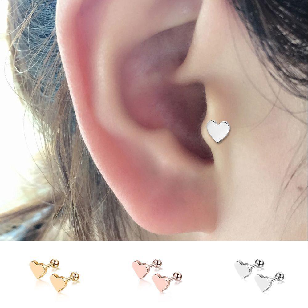 2pcs Piercing Tragus Earrings Helix Heart Shape Ear Studs Shopee