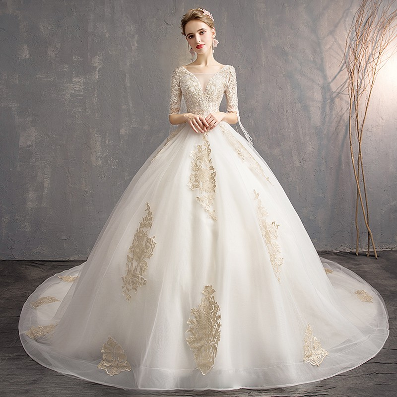 Wedding Dresses 2019 New Bride Female Small Simple Word Sh