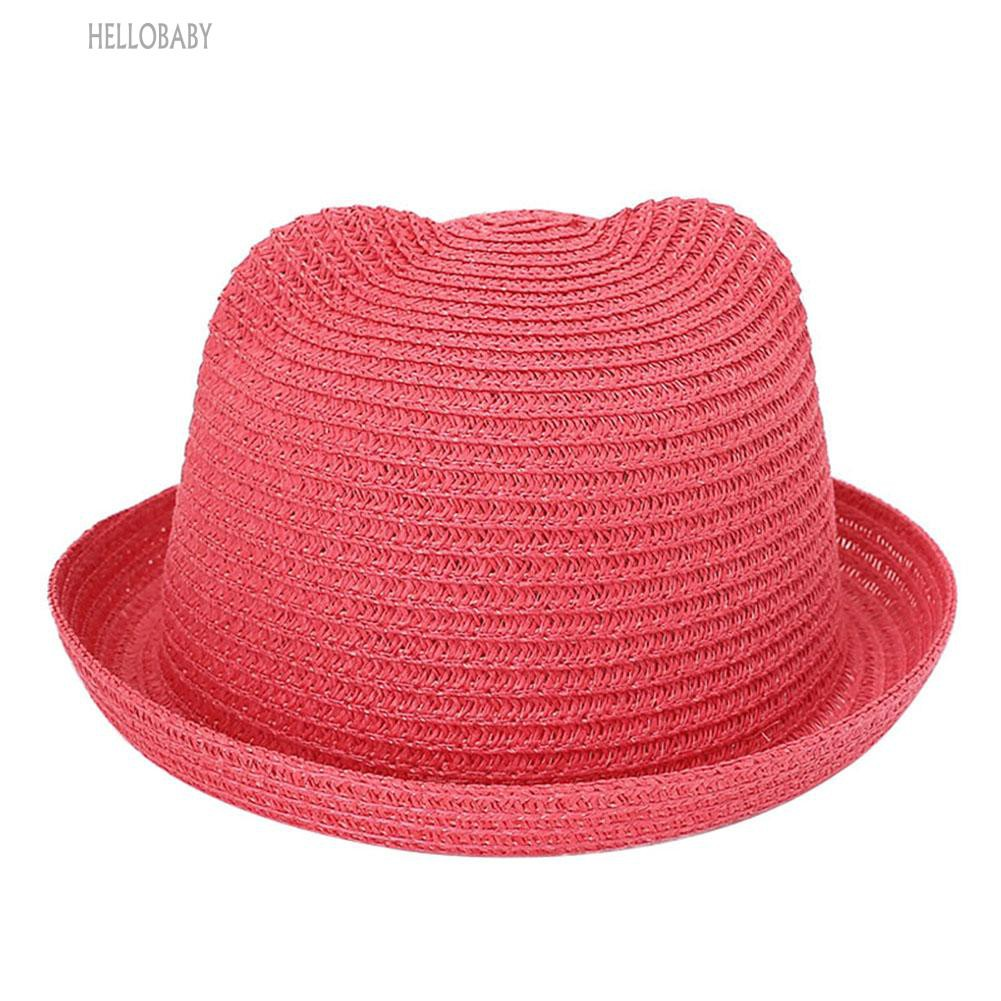 d653ca4a31f 🎩Solid Color Lovely Cat Ears Kids Bucket Hat Beach Sun Cap