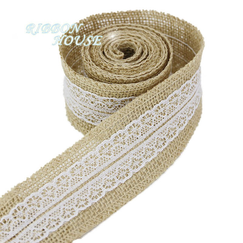 2m of Ivory Hand Made  Printed 100/% Cotton Canvas Gift Wrap Craft Décor Ribbon