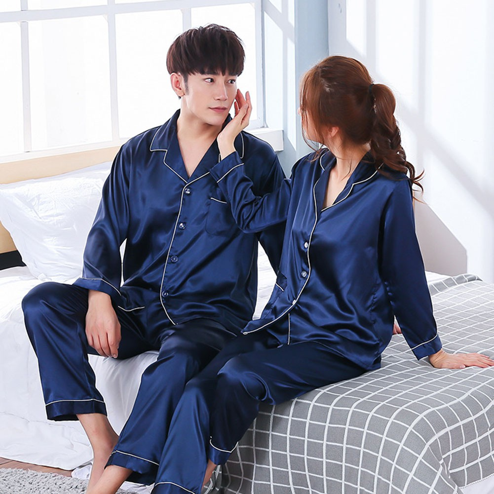 UK Women Men Couple Pajamas Set Silk Stain Long Sleeve Outfit Sleepwear Homewear