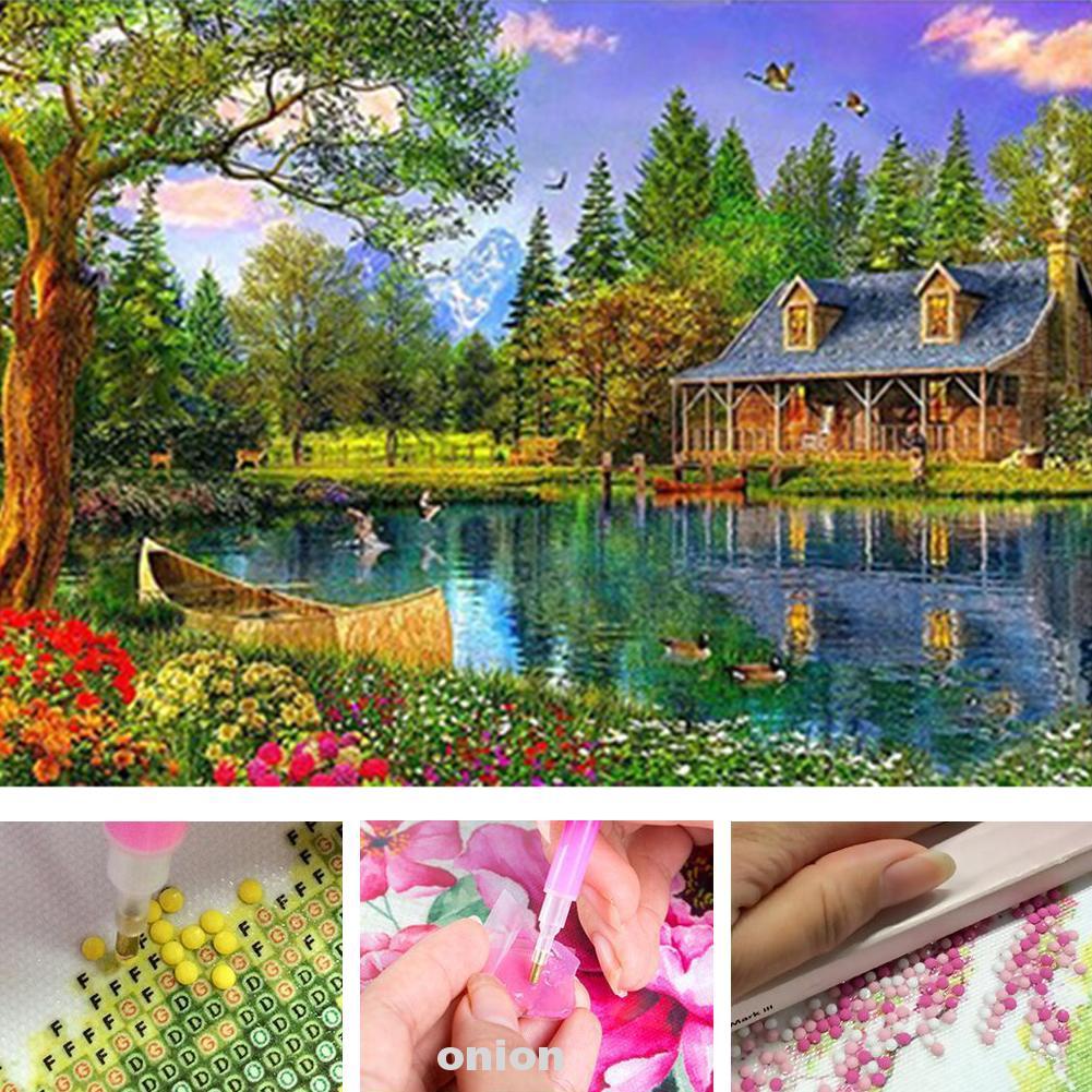 5D DIY Full Drill Diamond Painting Rural Landscape Pattern Cross Stitch Decor