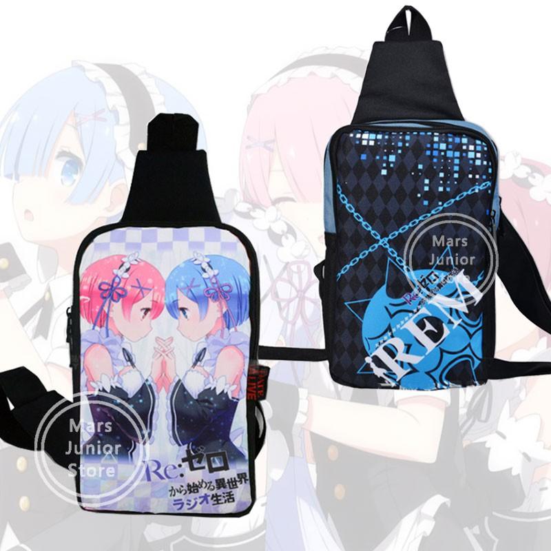 Anime Re:Zero Rem//Ram Cosplay Unisex School Backpack Messenger Bag Harajuku Gift
