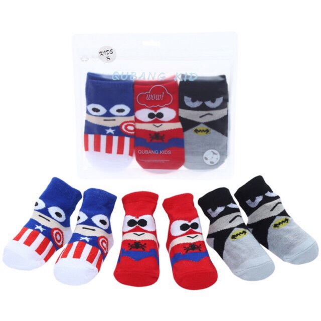 Superhero Non Slip Baby Socks 3Pairs Set with Non Skid Soles for 1-3 Years Infants Toddlers