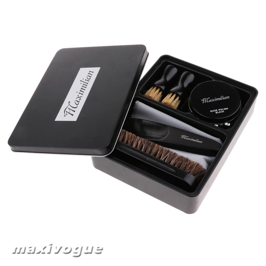 8pcs//set Shoe Care Kits Cleaning Shine Polish Brushes Set with Iron Tin Box