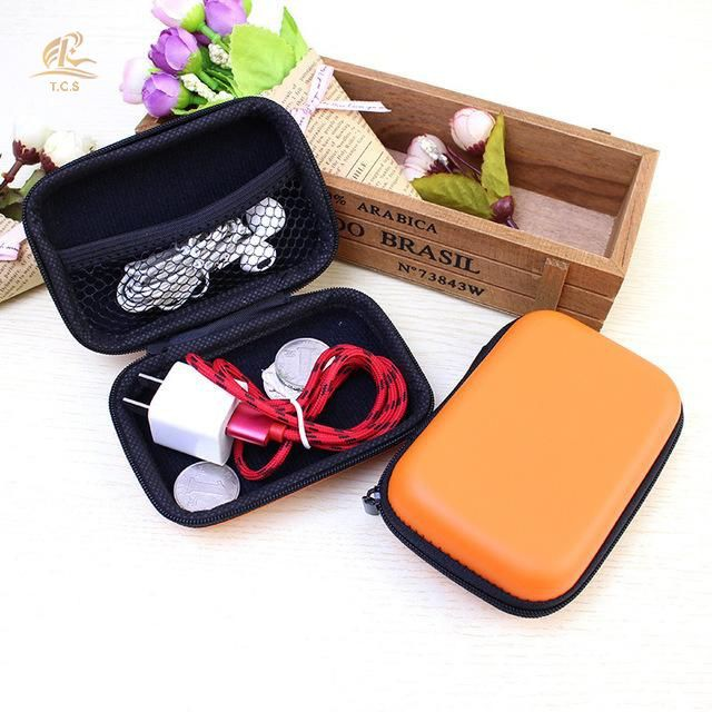 Leather Earphone Storage Bag Case Earbud Mp3 USB Cable Electronics Holder HS