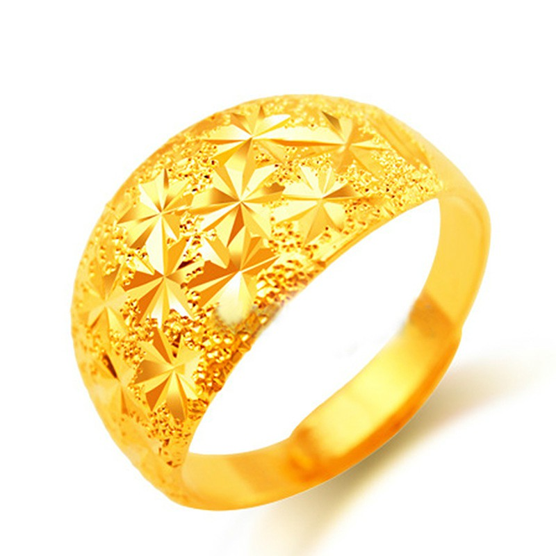 Men Gold Ring Jewelry Large Sand Starry Sky Ring Men S Ring