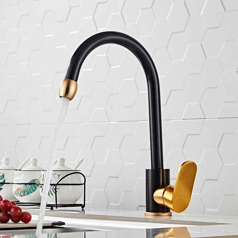 Black Gold Kitchen Faucet Dish Basin Hot Cold Water Faucet Rotatable Space Aluminum Sink Faucet Shopee Philippines